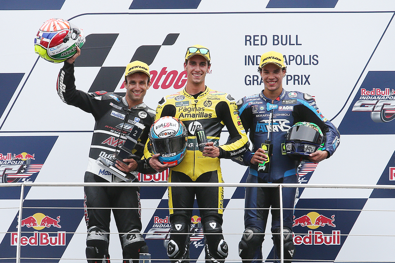 Podium: winner Alex Rins, second place Johann Zarco, third place Franco Morbidelli