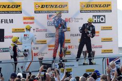 Podium: race winner Jack Goff, MG 888 Racing, second place Jason plato, Team BMR, third place Andy Priaulx, Team IHG Rewards Club