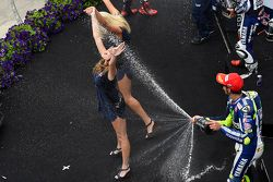 Red Bull girls get a champagne shower from Valentino Rossi, Yamaha Factory Racing