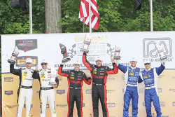 P class podium: winners #31 Action Express Racing Corvette DP: Eric Curran, Dane Cameron, second pla