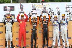 PC podium: winners #11 RSR Racing Oreca FLM09 Chevrolet: Chris Cumming, Bruno Junqueira, second place #38 Performance Tech Motorsports Oreca FLM09: James French, Conor Daly, third place #54 CORE autosport Oreca FLM09: Jon Bennett, Colin Braun