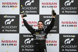 Matthew Simmons celebrates winning the GT Academy