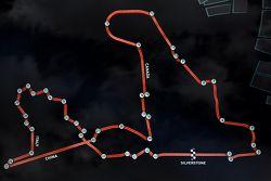 Circuito de Scalextric último de Martin Brundle - diagrama con rectas y curvas de los circuitos de F1 2015