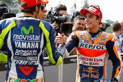 Le deuxième, Marc Marquez, Repsol Honda Team et le troisième, Valentino Rossi, Yamaha Factory Racing