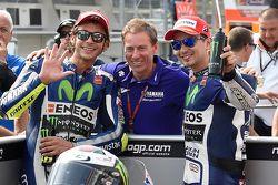 Le poleman Jorge Lorenzo, Yamaha Factory Racing, le troisième, Valentino Rossi, Yamaha Factory Racing
