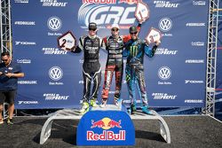 Podium: second place Patrik Sandell, Bryan Herta Rallysport Ford and first place Nelson Piquet Jr., SH Racing Rallycross Ford and third place Ken Block, Hoonigan Racing Division Ford