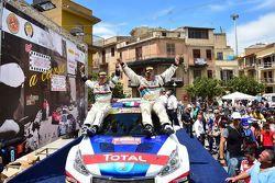Paolo Andreucci, Peugeot Sport Italia, festeggia la vittoria del Rally Targa Florio