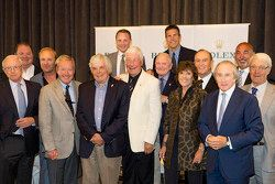 Iconic race drivers, from left, front row: Skip Barber, Hurley Haywood, Brian Redman, Howden Ganley,