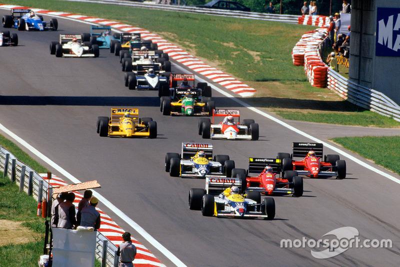 Start: Nigel Mansell, Williams memimpin