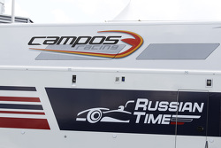 Campos Racing and RUSSIAN TIME logos on the trucks