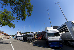 A view of the GP2 team trucks in the paddock