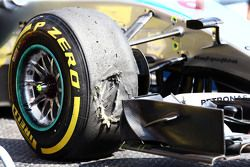 A damaged Pirelli tyre on the Mercedes AMG F1 W06 of Nico Rosberg, Mercedes AMG F1 in the second practice session