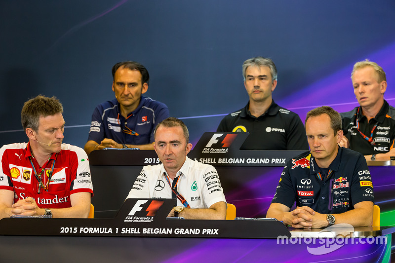FIA Press Conference: Giampaolo Dall'Ara, Sauber F1 Team Head of Track Engineering; Nick Chester, Lotus F1 Team Technical Director; Andrew Green, Sahara Force India F1 Team Technical Director; James Allison, Ferrari Chassis Technical Director; Paddy Lowe, Mercedes AMG F1 Executive Director,; Paul Monaghan, Red Bull Racing Chief Engineer