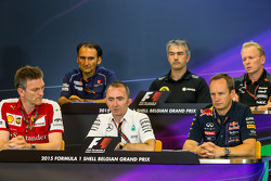 The FIA Press Conference: Giampaolo Dall'Ara, Sauber F1 Team Head of Track Engineering; Nick Chester, Lotus F1 Team Technical Director; Andrew Green, Sahara Force India F1 Team Technical Director; James Allison, Ferrari Chassis Technical Director; Paddy Lo