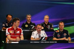 The FIA Press Conference,): Giampaolo Dall'Ara, Sauber F1 Team Head of Track Engineering; Nick Chester, Lotus F1 Team Technical Director; Andrew Green, Sahara Force India F1 Team Technical Director; James Allison, Ferrari Chassis Technical Director; Paddy Lowe, Mercedes AMG F1 Executive Director,; Paul Monaghan, Red Bull Racing Chief Engineer.
