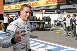 Stoffel Vandoorne, ART Grand Prix celebrates his pole position in Parc Ferme