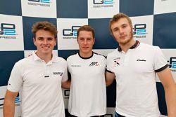 Second place Oliver Rowland, MP Motorsport and polesitter Stoffel Vandoorne, ART Grand Prix and third place Sergey Sirotkin, Rapax