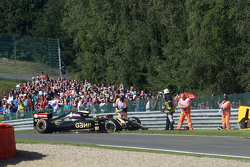 The Lotus F1 E23 of Pastor Maldonado, Lotus F1 Team after he crashed in the first practice session