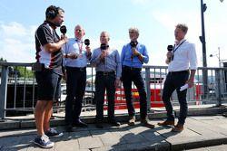 (L to R): Ted Kravitz, Sky Sports Pitlane Reporter with Martin Brundle, Sky Sports Commentator; Johnny Herbert, Sky Sports F1 Presenter; Damon Hill, Sky Sports Presenter; and Simon Lazenby, Sky Sports F1 TV Presenter