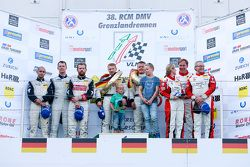 Podium: winners Klaus Graf, Christian Hohenadel, Rowe Racing, second place Adam Christodoulou, Andre