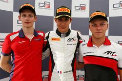 Race 1 persconferentie: 2de Emil Bernstorff, Arden International, winnaar Esteban Ocon, ART Grand Pr