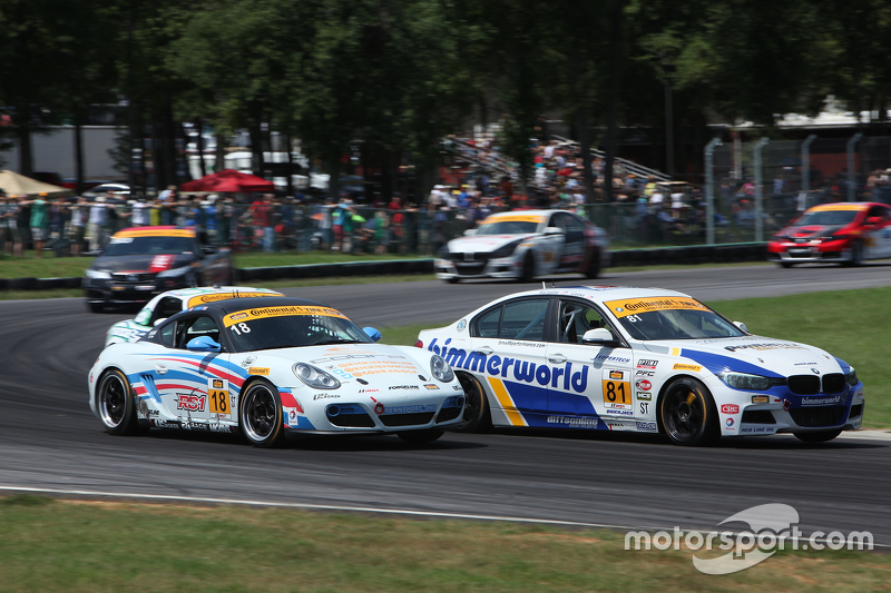 #81 BimmerWorld Racing BMW328i: Andrie Hartanto, Tyler Cooke and #18 RS1 Porsche Cayman: Dylan Murco