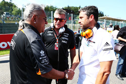 (L to R): Dr. Vijay Mallya, Sahara Force India F1 Team Owner with Otmar Szafnauer, Sahara Force India F1 Chief Operating Officer and Patrick Dempsey, Actor on the grid