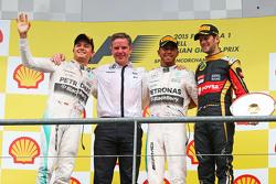 The podium,: Nico Rosberg, Mercedes AMG F1, second; Lewis Hamilton, Mercedes AMG F1, race winner; Romain Grosjean, Lotus F1 Team, third