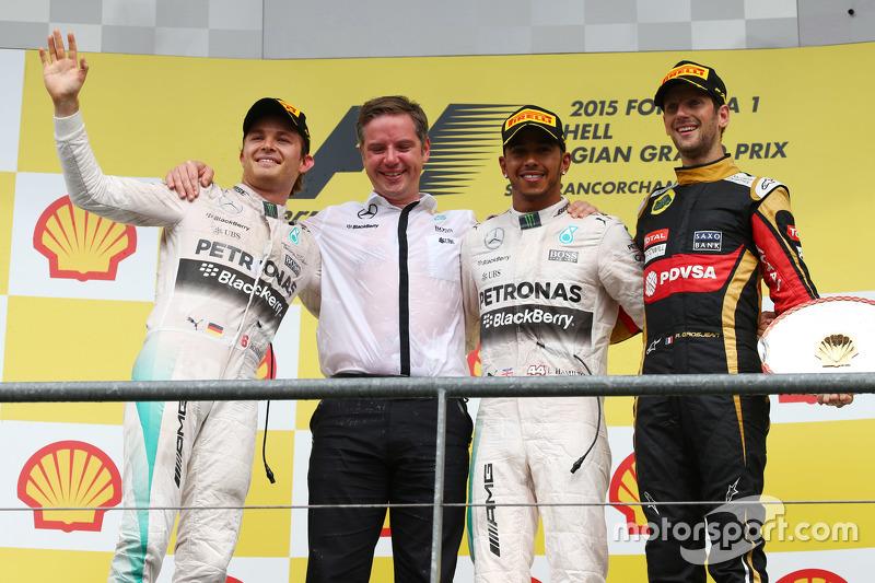 2015: 1. Lewis Hamilton, 2. Nico Rosberg, 3. Romain Grosjean