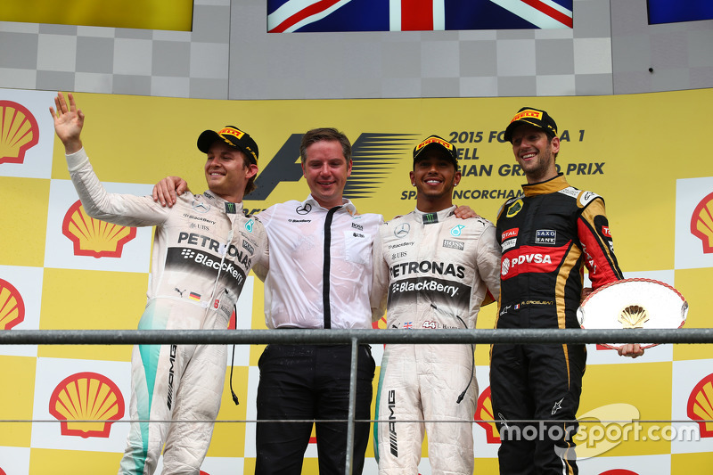 1st place Lewis Hamilton, Mercedes AMG F1 2nd place Nico Rosberg, Mercedes AMG F1 and 3rd place Romain Grosjean, Lotus F1 E23