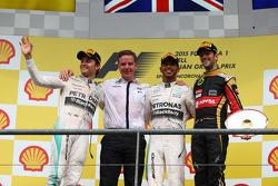 1st place Lewis Hamilton, Mercedes AMG F1 2nd place Nico Rosberg, Mercedes AMG F1 and 3rd place Romain Grosjean, Lotus F1 E24