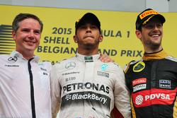 The podium,: race winner Lewis Hamilton, Mercedes AMG F1 with third placed Romain Grosjean, Lotus F1 Team on the podium