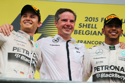 Second placed Nico Rosberg, Mercedes AMG F1 with race winner Lewis Hamilton, Mercedes AMG F1 on the podium