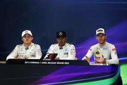 The FIA Press Conference,: Nico Rosberg, Mercedes AMG F1, second; Lewis Hamilton, Mercedes AMG F1, race winner; Romain Grosjean, Lotus F1 Team, third