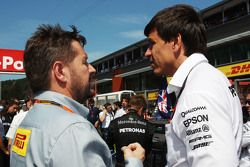 (L to R): Paul Hembery, Pirelli Motorsport Director with Toto Wolff, Mercedes AMG F1 Shareholder and Executive Director