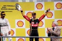 Romain Grosjean, Lotus F1 Team fête sa troisième place sur le podium