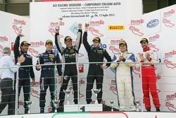 Podio Gara 2 GT Cup: Tommaso Maino e Livio Selva Ebimotors, Christian Passuti e Steven Goldstein, An