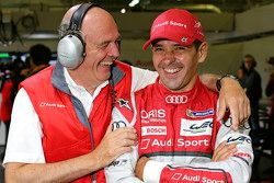Dr. Wolfgang Ullrich, Audi-Sportchef, mit Benoit Tréluyer, Audi Sport Team Joest