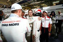Pole winning #18 Porsche Team Porsche 919 Hybrid: Romain Dumas, Neel Jani, Marc Lieb and team principal Andreas Seidl