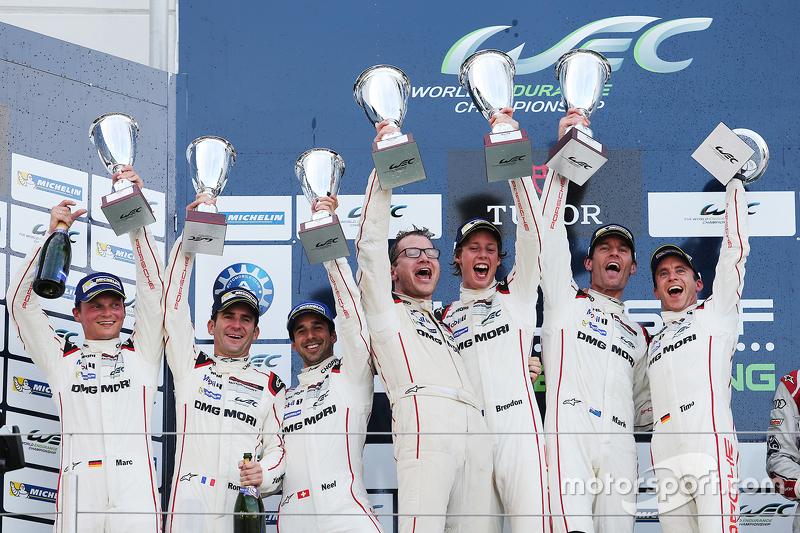 Podium: winners Timo Bernhard, Mark Webber, Brendon Hartley, Porsche Team, second place Romain Dumas, Neel Jani, Marc Lieb