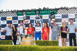 GT Cup podium: First place #17 Global Motorsports Group Porsche 911 GT3 Cup: Alec Udell, second plac