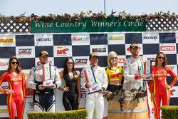 GTS Winners Podium: Race winner #66 DragonSpeed Mercedes-Benz AMG SLS GT3: Frank Montecalvo, second place #08 DragonSpeed Mercedes-Benz AMG SLS GT3: Eric Lux and third place #07 Scuderia Corsa Ferrari 458 GT3 Italia: Martin Fuentes
