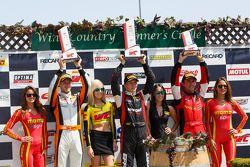 GT Winners Podium: Race winner #31 EFFORT Racing Porsche 911 GT3 R: Renger van der Zande, second pla