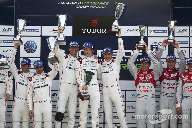 Podium: winners Timo Bernhard, Mark Webber, Brendon Hartley, Porsche Team, second place Romain Dumas