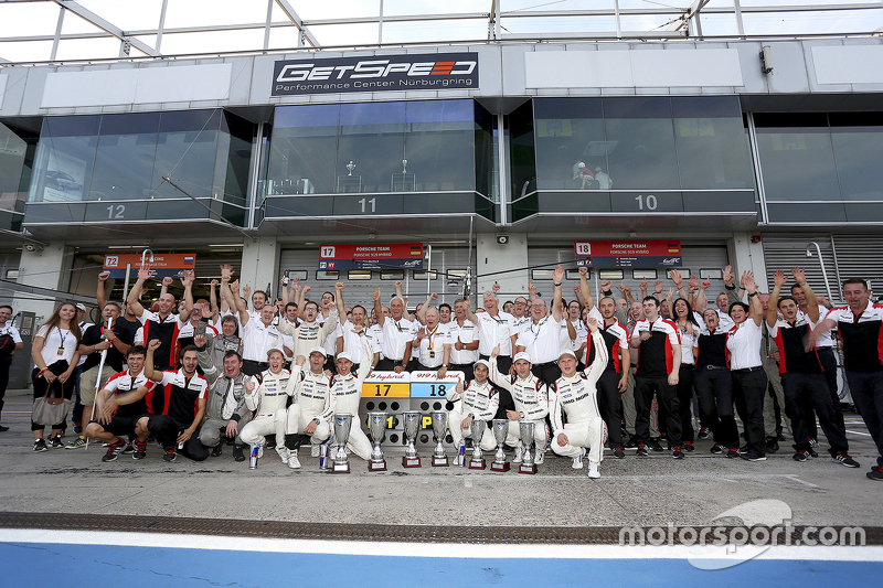 Porsche Team celebrates a 1-2 finish