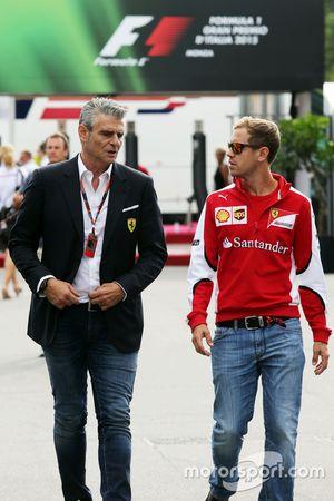 Maurizio Arrivabene, Ferrari teambaas met Sebastian Vettel, Ferrari