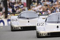 #63 Team Sauber Mercedes Sauber-Mercedes C9: Jochen Mass, Manuel Reuter, Stanley Dickens and #62 Team Sauber Mercedes Sauber-Mercedes C9: Jean-Louis Schlesser, Jean-Pierre Jabouille, Alain Cudini