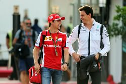 Esteban Gutierrez, Ferrari Test and Reserve Driver with Toto Wolff, Mercedes AMG F1 Shareholder and Executive Director