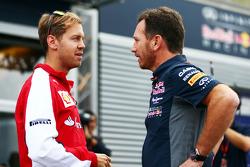 Себастьян Феттель, Ferrari и Кристиан Хорнер, руководитель Red Bull Racing Team