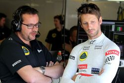 Romain Grosjean, Lotus F1 Team en Julien Simon-Chautemps, ingenieur